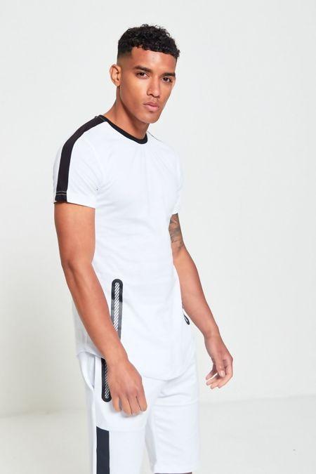 White And Black Contrast Dip Hem T-Shirt and Short Set