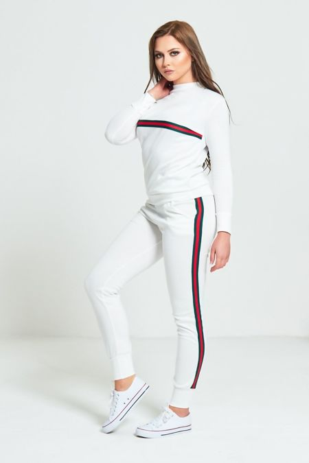 White And Red Stripe Tracksuit