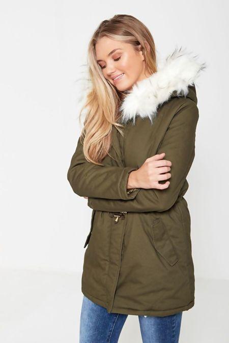 White Angel Fur Hooded Parka Coat