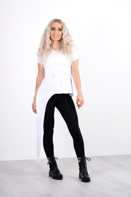 White Asymmetric Longline Top