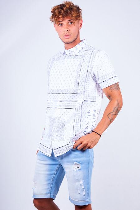 White Bandana Print Short Sleeve Shirt