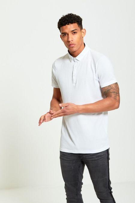 White Bubble Pattern Polo T-Shirt