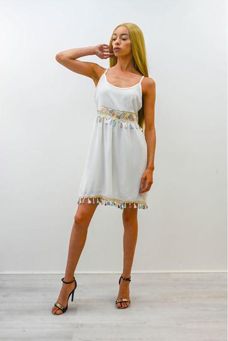 White Butterfly Embroidered Tassel Hem Dress