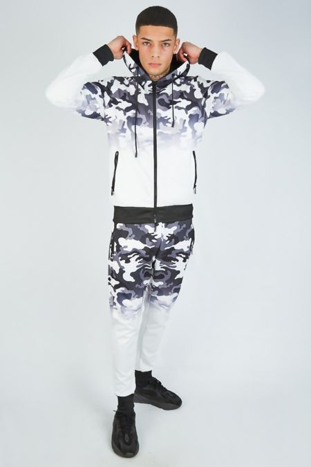White Camo Skinny Fit Hooded Tracksuit
