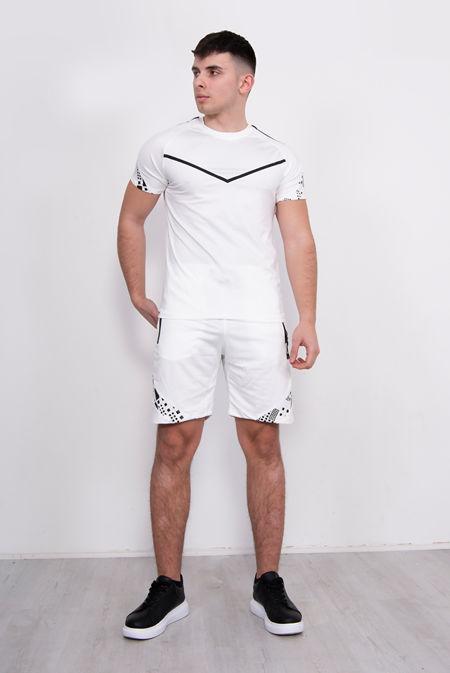 White Chevron Contrast Print T-Shirt And Short Set
