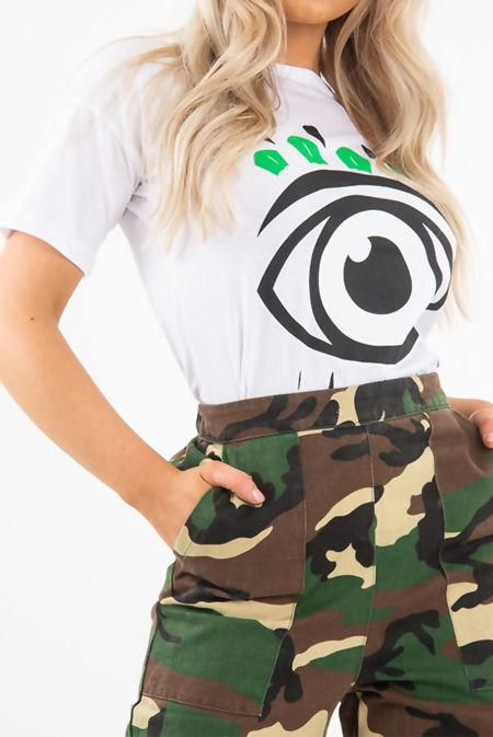 White Crew Neck Eye Print T-Shirt