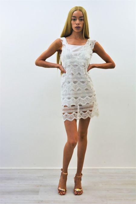 White Crochet Overlay Mini Dress