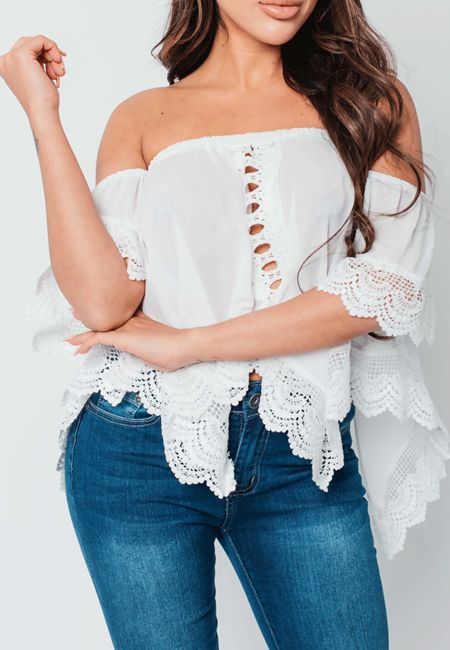 Black Crochet Trim Bardot Top