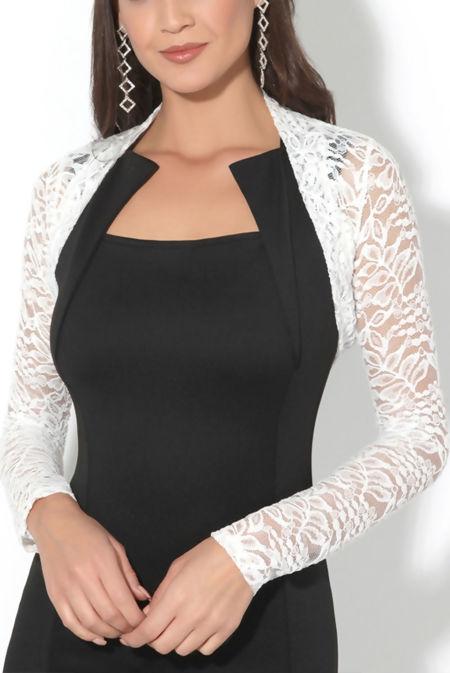 Plus Size White Cropped Lace Bolero Shrug