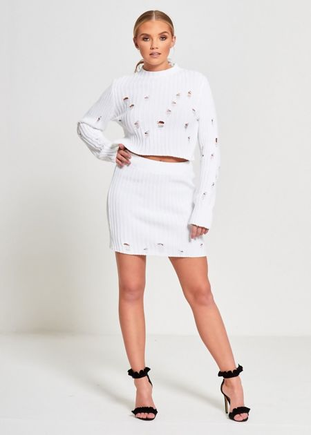 White Distressed Knitted Co-Ord