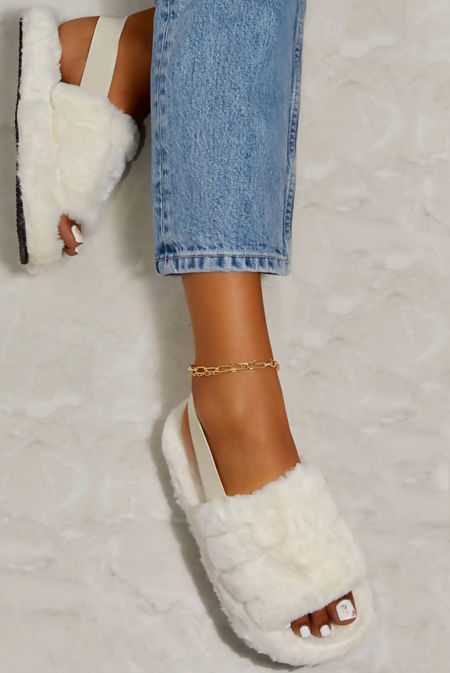 White Faux Fur Fluffy Stripe Slipper