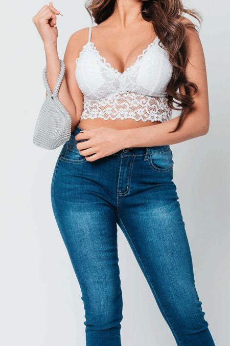 White Floral Lace Bralet