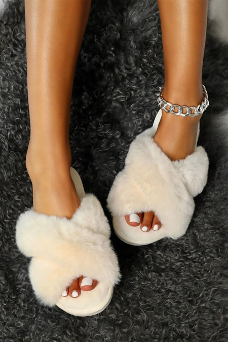 White Fluffy Cross Over Slipper