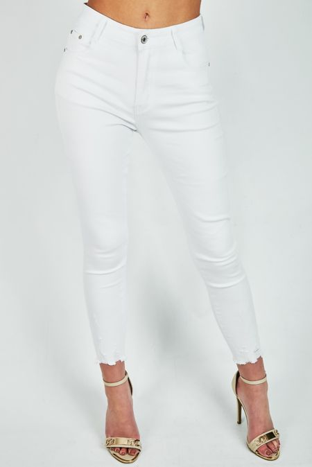 White Frayed Hem Jeans