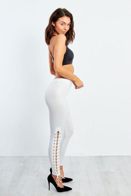 White Lace Up Hem PU Leggings