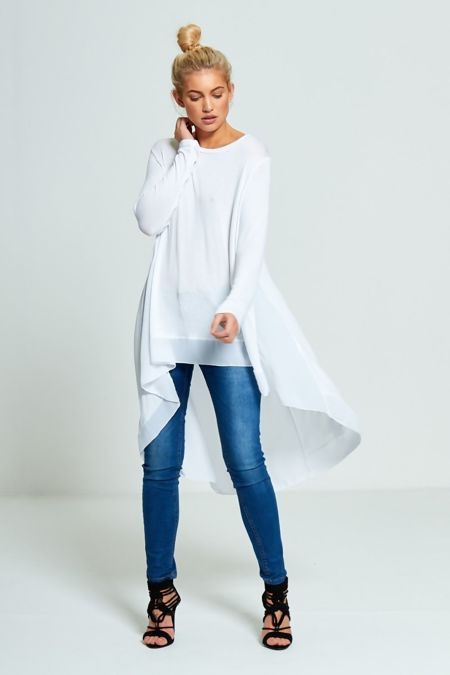 Plus Size White Lightweight Knit Fishtail Top