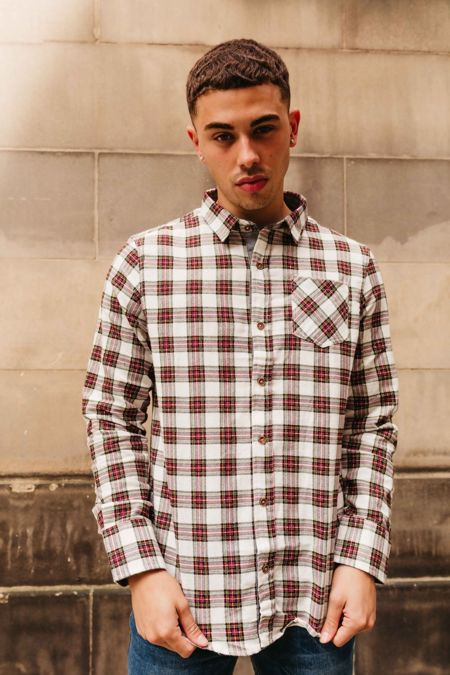 White Long Sleeve Tartan Print Shirt