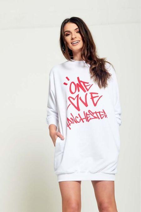 White Love Manchester Printed Mini Sweat Dress