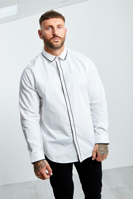 White Monochrome Collar Long Sleeve Shirt