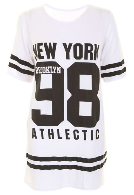 Plus Size White New York 98 Oversize T-Shirt