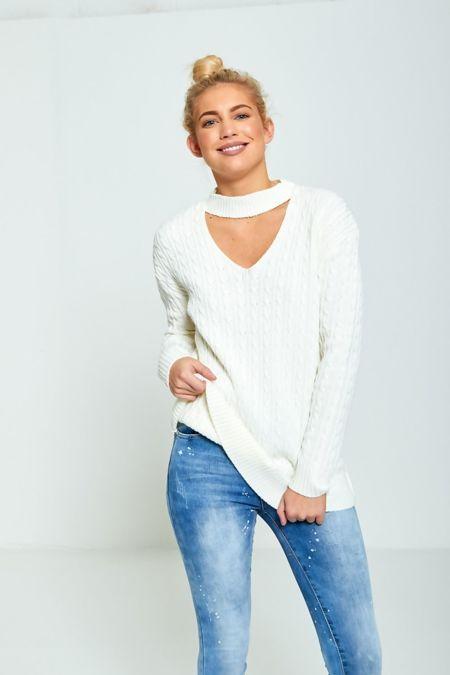 White Plus Size Choker Neck Knitted Jumper
