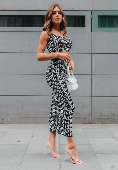White Printed Crop Top And Midi Skirt Set