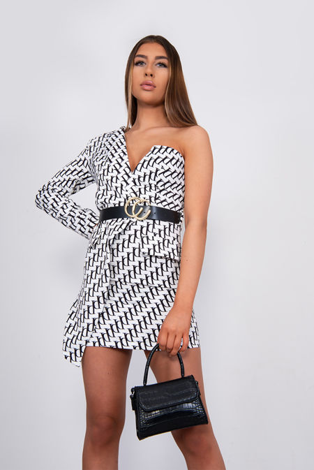 White Printed One Shoulder Belted Blazer Dress