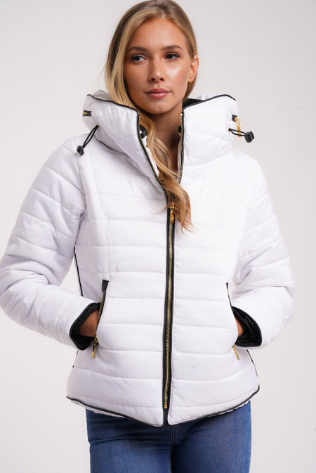 White Quilted Padded Puffer Bubble Fur Collar Jacket
