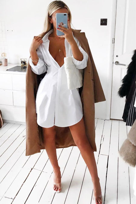 White Rolled Sleeve Shirt Dress
