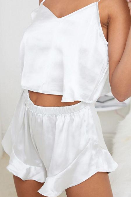White Satin Frill Short Pyjama Set
