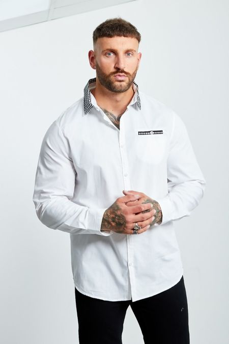 White Shape Printed Collar Long Sleeve Shirt