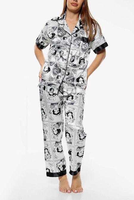 White Snow White Printed Satin PJ Set