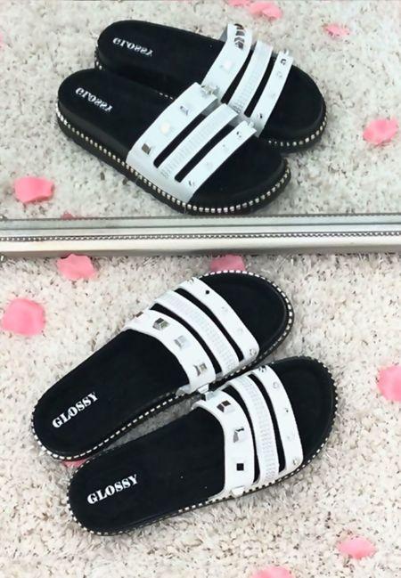 White Stud Strap Slider Sandals