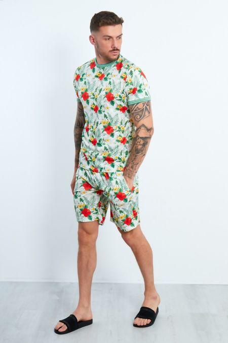 White Tropical Printed T-shirt And Shorts Set