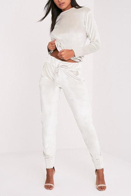 White Velvet Lounge Tracksuit