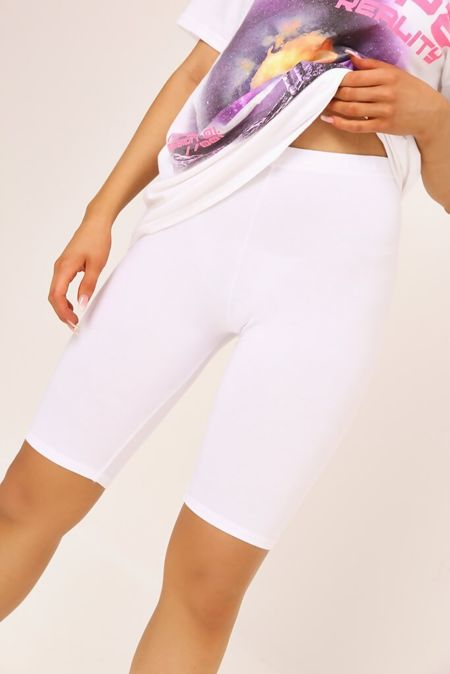 White Viscose Slinky Plain Cycling Shorts
