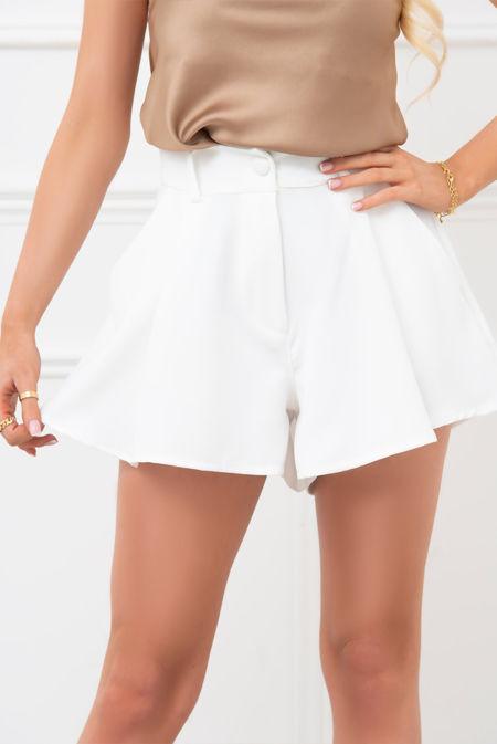 White Wide Hem Tailored Shorts