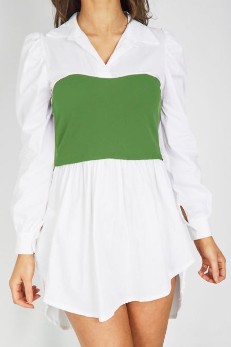 White With Green Bandeau Shirt Dress