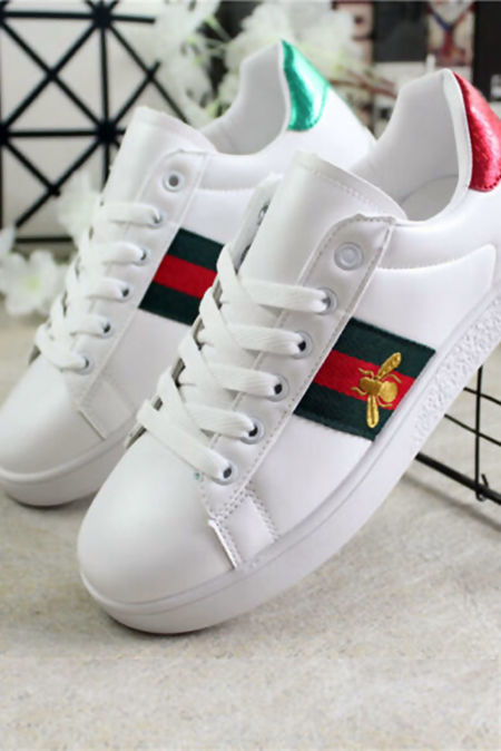 White With Green and Red Stripe Trainer