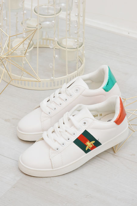 White With Red and Green Stripe Trainers Preorder