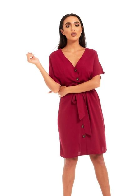 Wine Button Up Mini Dress