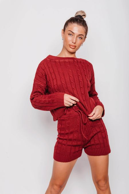 Wine Cable Knit Jumper And Shorts Lounge Set