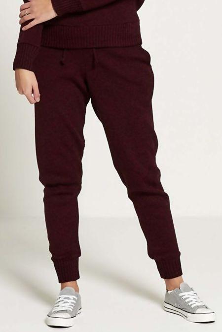 Wine Fine Knitted Loungewear Bottom