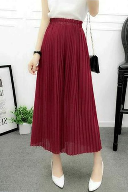 Wine High Waist Pleated Wide Leg Culottes