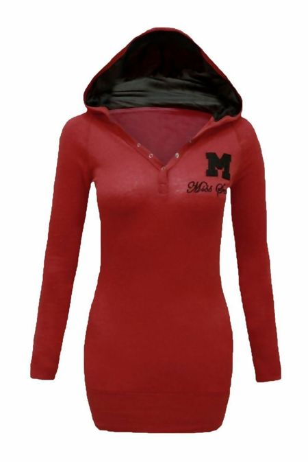 Wine Hooded Plain Cotton Jumper Top