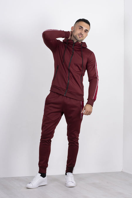 Wine Quilted Velvet Stripe Detail Muscle Fit Tracksuit
