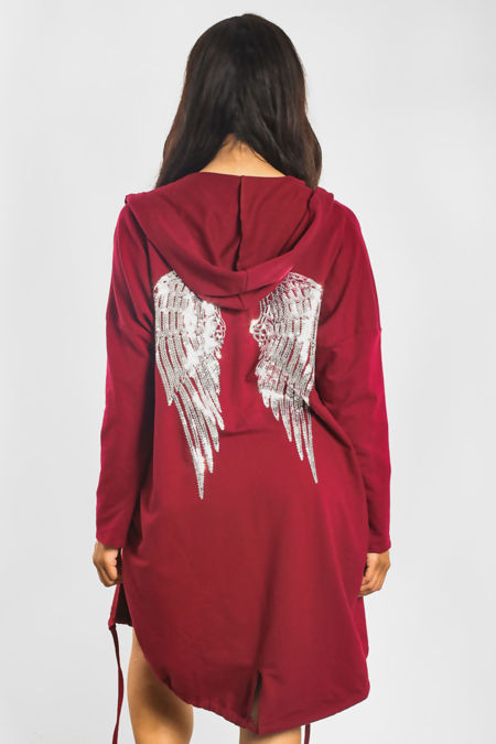 Wine Sequin Angel Wing Hooded Cardigan