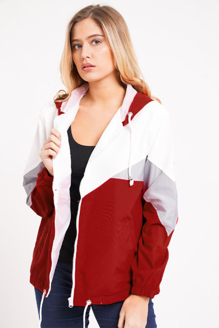 Wine Two Tone Cagoule Jacket
