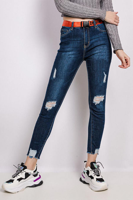 Wood Walk Distressed Belted Jeans