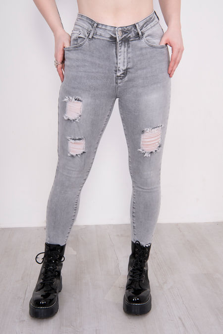 Washed Grey Ripped Skinny Jeans